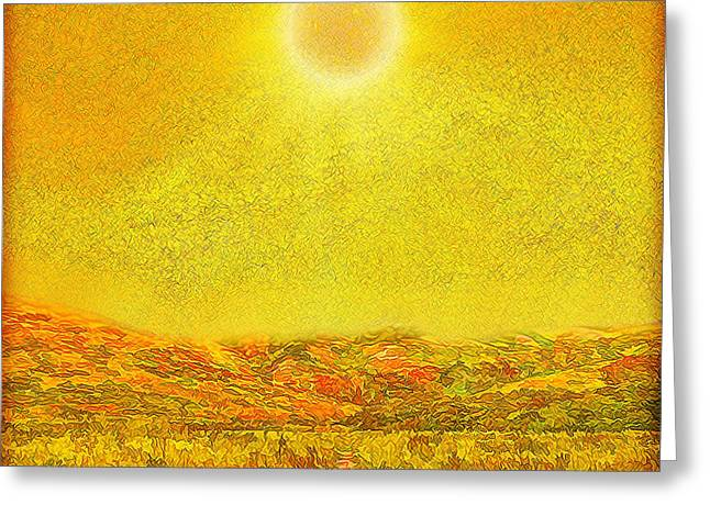 Greeting Card featuring the digital art Golden Sunlit Path - Marin California by Joel Bruce Wallach