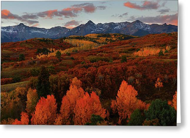 Greeting Card featuring the photograph Autumn Sunrise At Dallas Divide In Colorado by Jetson Nguyen