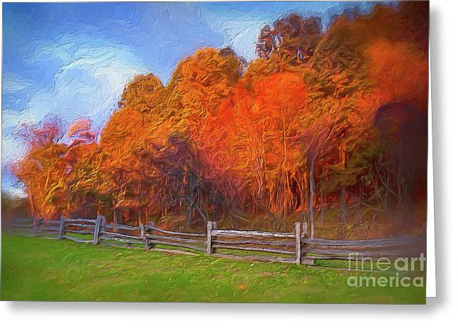 Greeting Card featuring the digital art Autumn Sunrise At Peaks Of Otter In The Blue Ridge Ap by Dan Carmichael