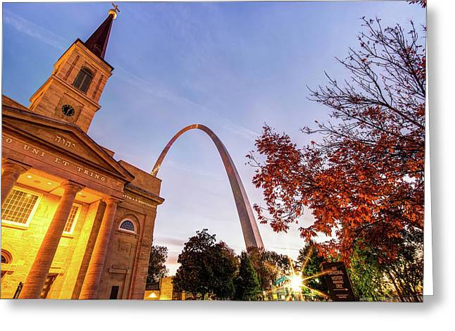 Autumn Sunrise - Downtown Saint Louis Gateway Arch And Old Cathedral Greeting Card by Gregory Ballos