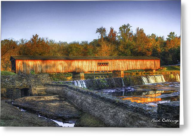 Autumn Sunrise Glow Watson Mill Covered Bridge Greeting Card by Reid Callaway