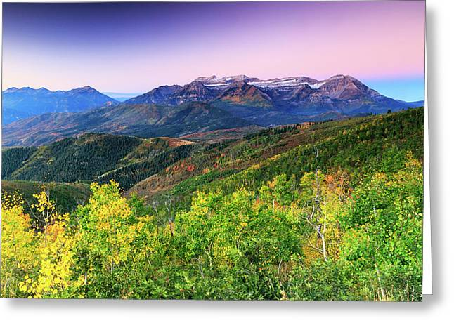 Greeting Card featuring the photograph Autumn Sunrise In The Utah Mountains. by Johnny Adolphson