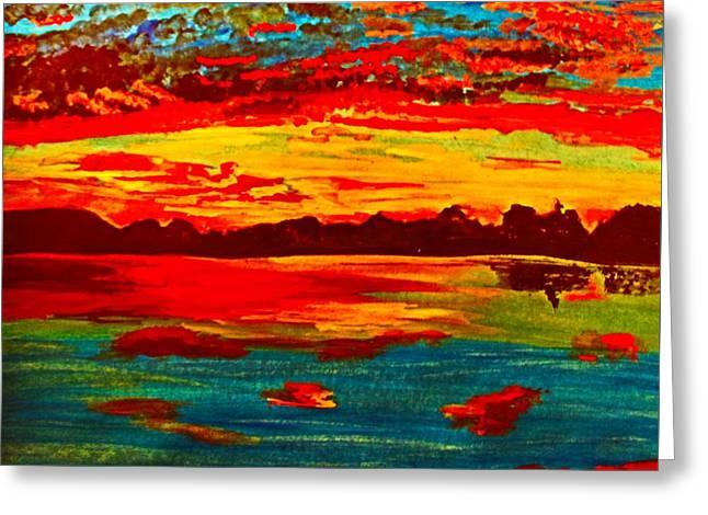 Autumn Sunrise On Lady Ann Lake Greeting Card by Barbara Donovan