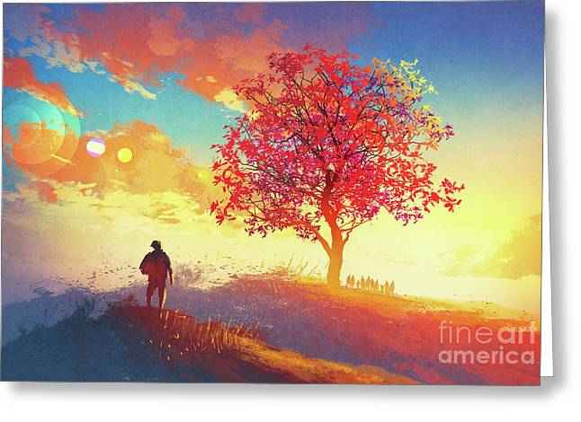 Greeting Card featuring the painting Autumn Sunrise by Tithi Luadthong