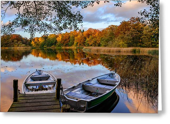 Autumn Sunset By The Lake Greeting Card by Catalin Tibuleac