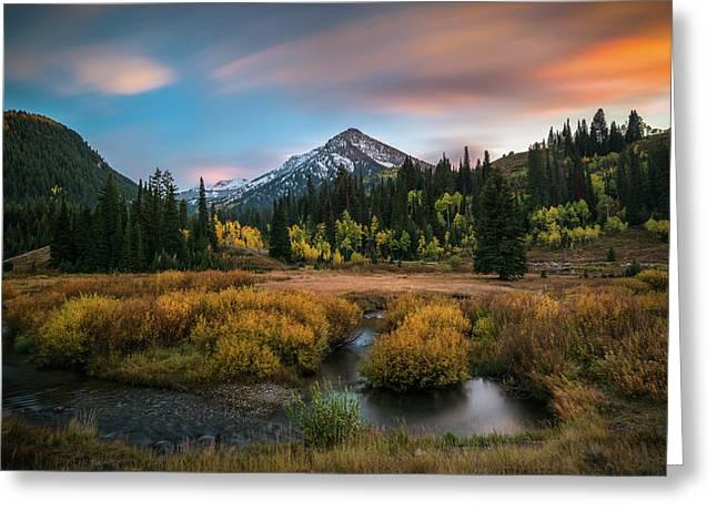 Autumn Sunset In Big Cottonwood Canyon Greeting Card