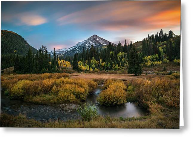 Autumn Sunset In Big Cottonwood Canyon Greeting Card