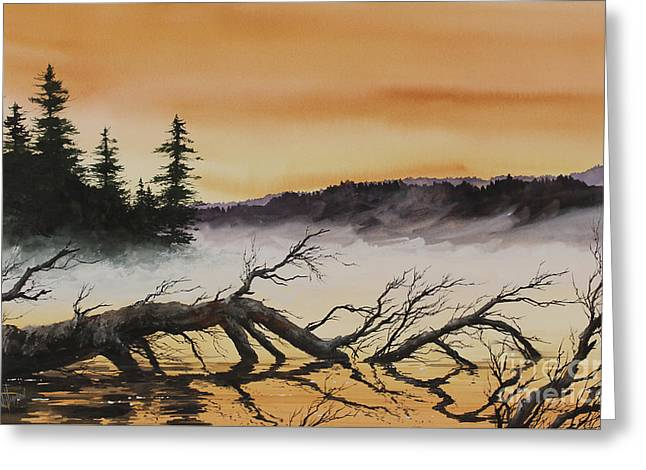 Greeting Card featuring the painting Autumn Sunset Mist by James Williamson