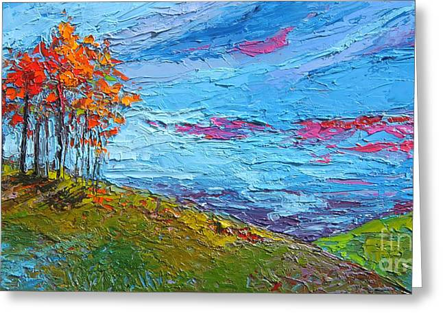 Greeting Card featuring the painting Autumn Sunset - Modern Impressionist Palette Knife Oil Painting by Patricia Awapara