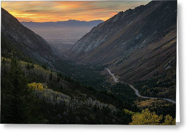 Autumn Sunset View Of Little Cottonwood Greeting Card