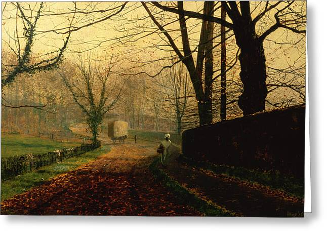 Autumn Sunshine Stapleton Parknear Pontefract  Greeting Card by John Atkinson Grimshaw
