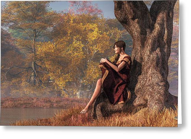Greeting Card featuring the digital art Autumn Thoughts by Daniel Eskridge