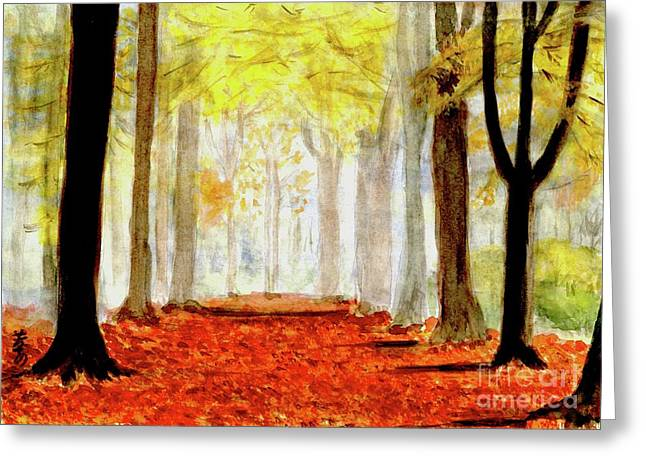 Greeting Card featuring the painting Autumn Trail by Yoshiko Mishina
