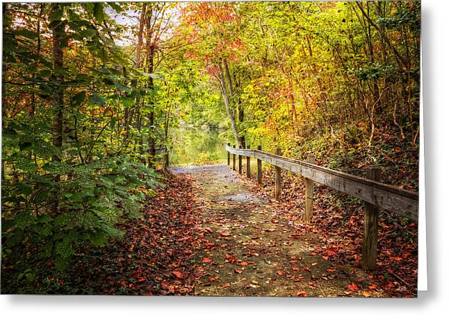 Autumn Trails Greeting Card by Debra and Dave Vanderlaan