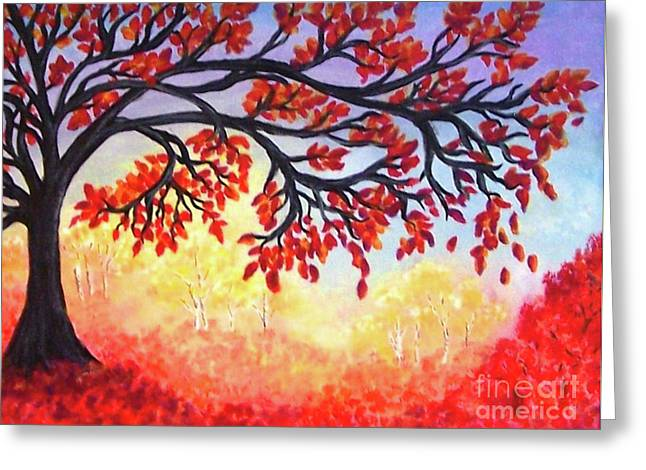 Greeting Card featuring the painting Autumn Tree by Sonya Nancy Capling-Bacle