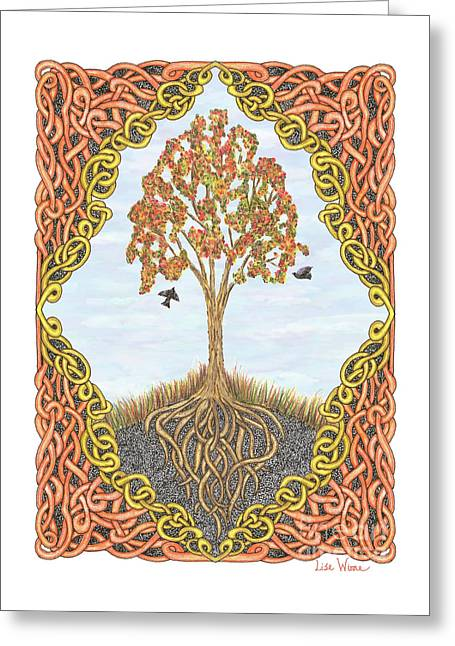 Greeting Card featuring the drawing Autumn Tree With Knotted Roots And Knotted Border by Lise Winne