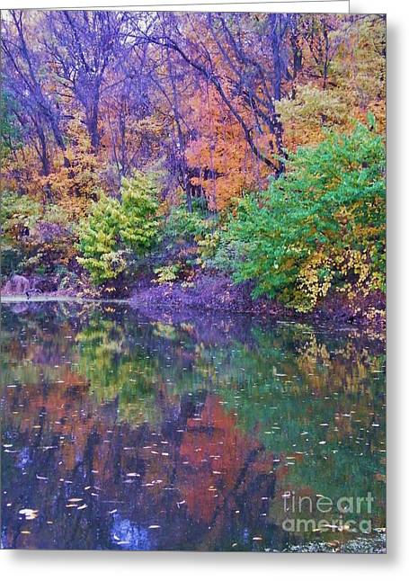 Autumn Trees And Pond Reflections  Vertical Image   Indiana Greeting Card by Rory Cubel
