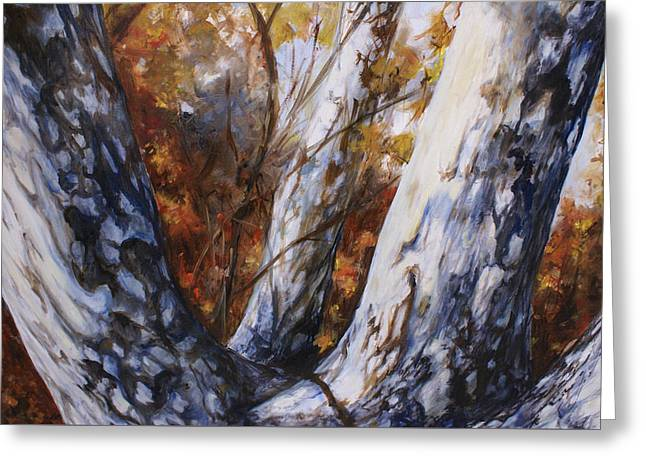 Autumn Trees Greeting Card by Laura Ury