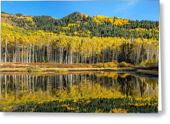 Autumn Trees Reflecting On Willow Lake In Utah Greeting Card by James Udall