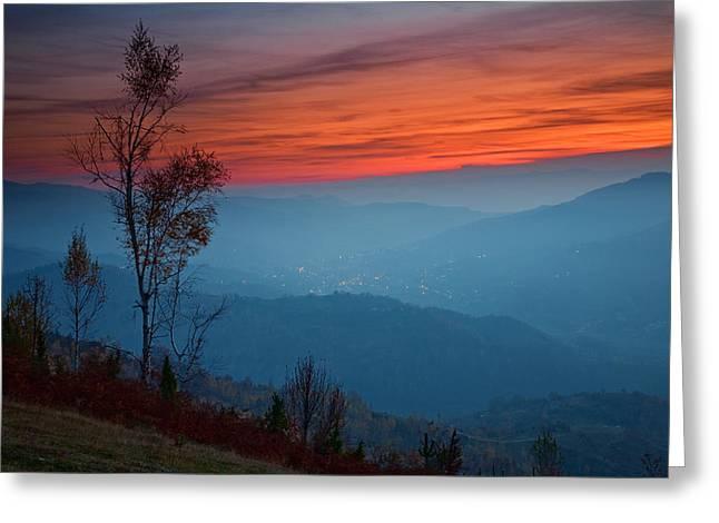 Twilight Greeting Cards - Autumn Twilight Greeting Card by Evgeni Dinev