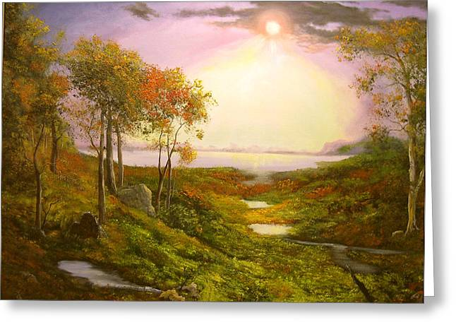 Autumn Twilight On The Hudson River Greeting Card by Connie Tom