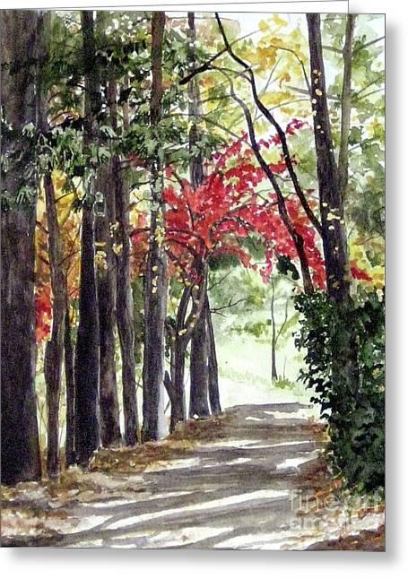 Autumn Walk Greeting Card by Carla Dabney