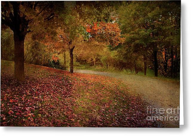 Autumn Walk Greeting Card by Elaine Manley