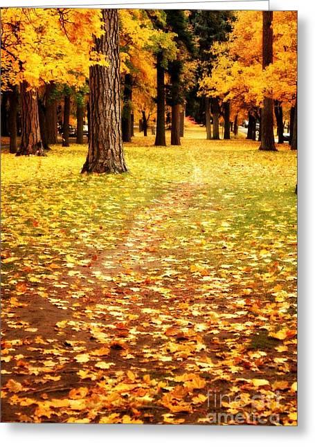 Autumn Walk In Spokane Greeting Card by Carol Groenen
