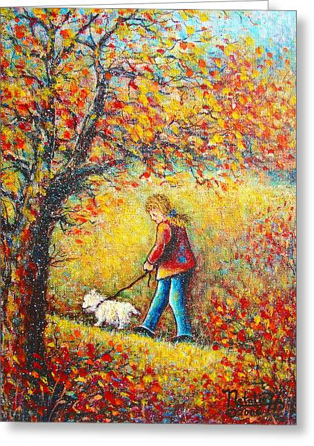 Greeting Card featuring the painting Autumn Walk  by Natalie Holland