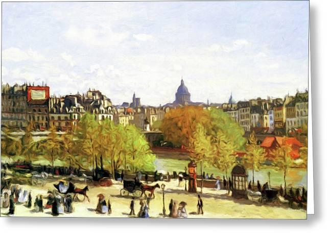 Autumn Walk On The Promenade Greeting Card