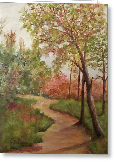 Autumn Walk Greeting Card by Roseann Gilmore