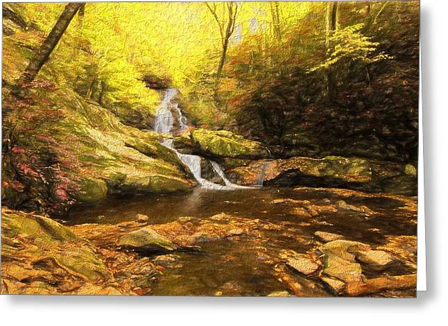 Autumn Waterfall In The Smokies Greeting Card by Dan Sproul