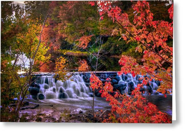 Autumn Waterfall - New England Fall Foliage Greeting Card