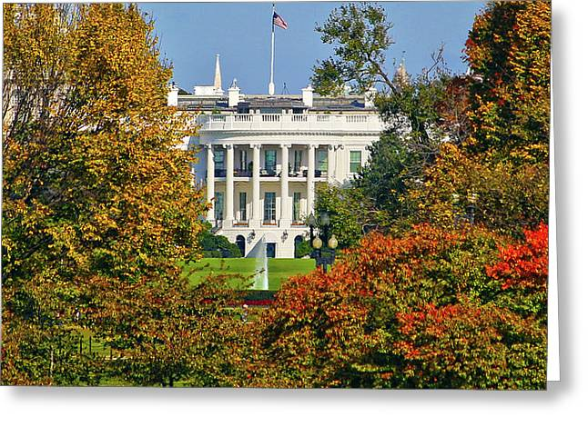 Greeting Card featuring the photograph Autumn White House by Mitch Cat