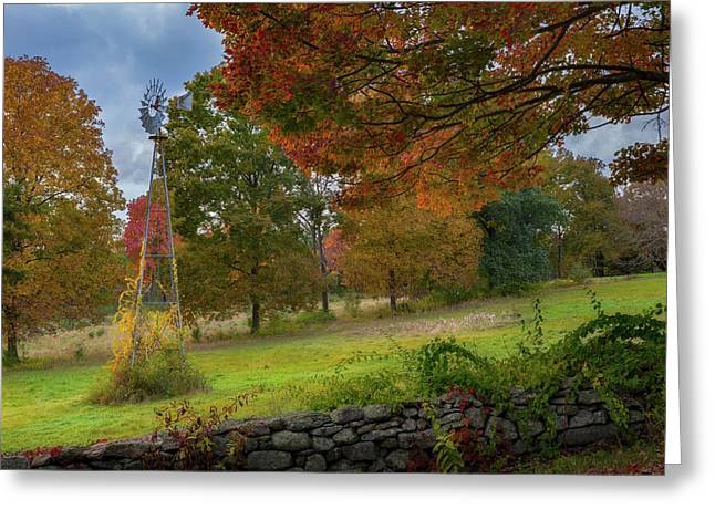 Greeting Card featuring the photograph Autumn Windmill by Bill Wakeley