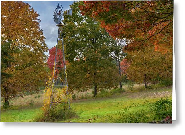 Greeting Card featuring the photograph Autumn Windmill Square by Bill Wakeley