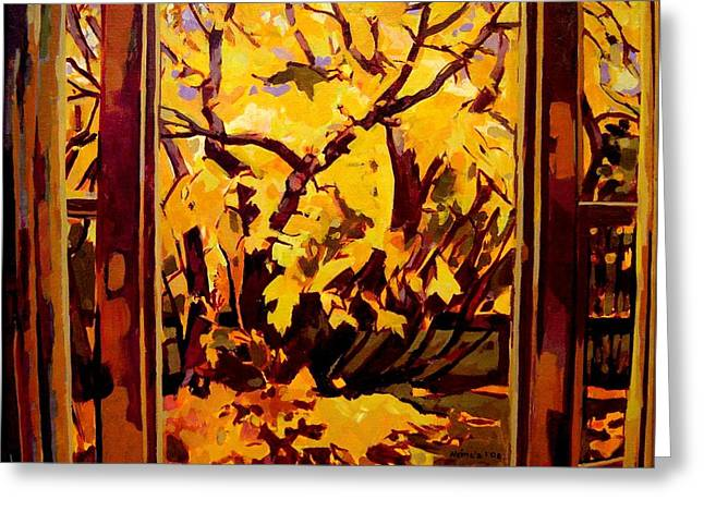 Greeting Card featuring the painting Autumn Window by Tim  Heimdal