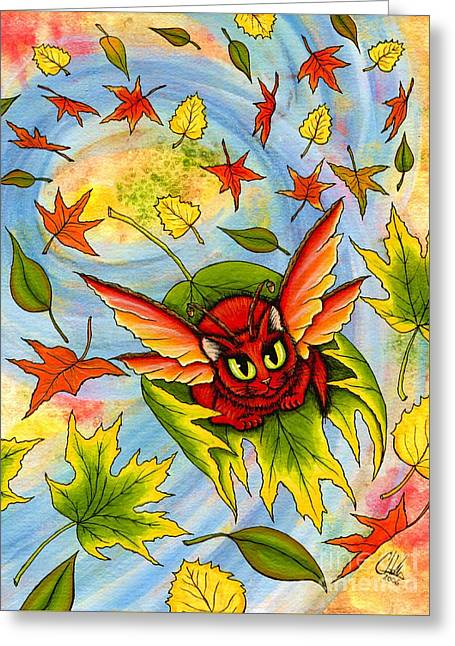 Autumn Winds Fairy Cat Greeting Card by Carrie Hawks