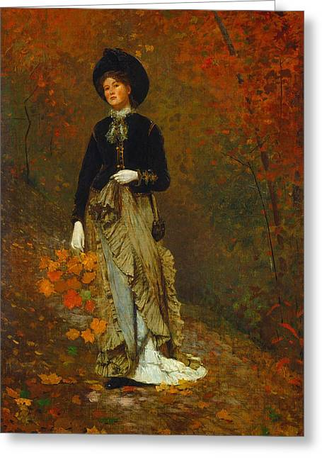Autumn Greeting Card by Winslow Homer