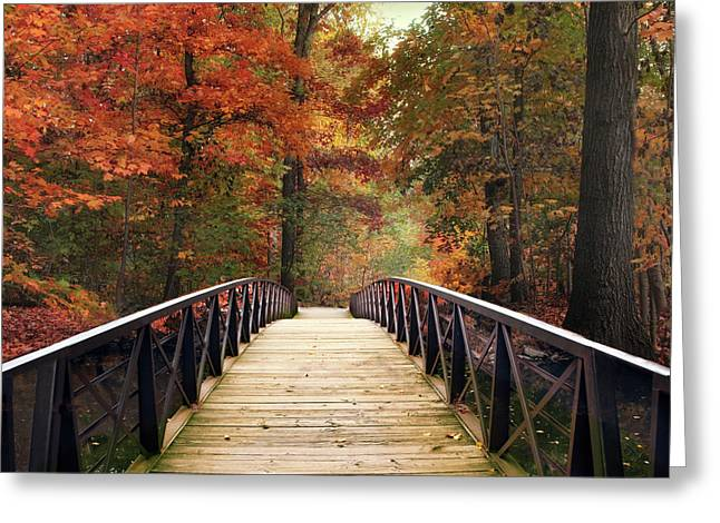 Autumn Woodland Crossing Greeting Card