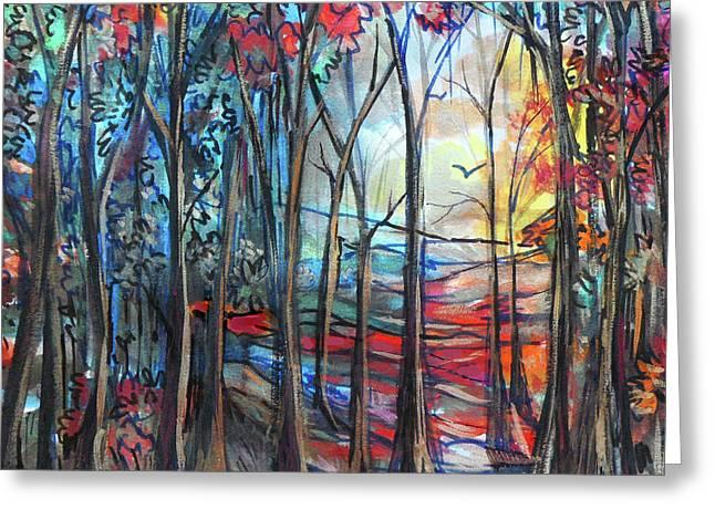 Autumn Woods Sunrise Greeting Card
