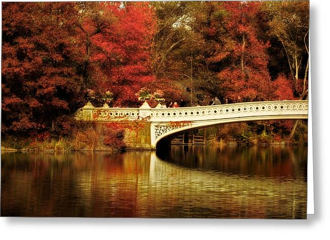 Autumnal Bow Bridge  Greeting Card by Jessica Jenney