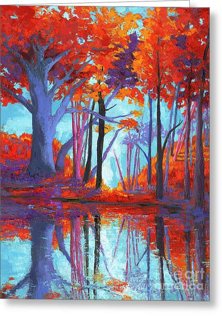 Autumnal Landscape, Impressionistic Art Greeting Card