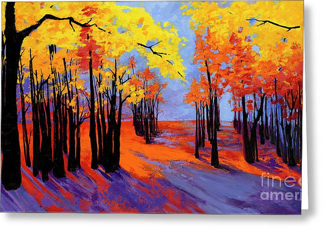 Greeting Card featuring the painting Autumnal Landscape Painting, Forest Trees At Sunset by Patricia Awapara