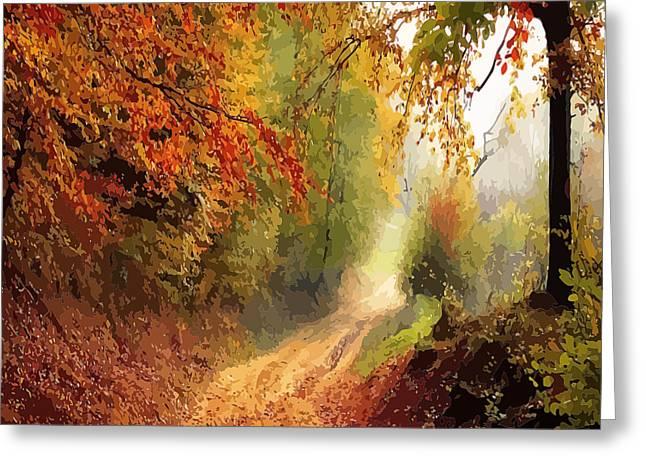 Autumnal Pathway Greeting Card