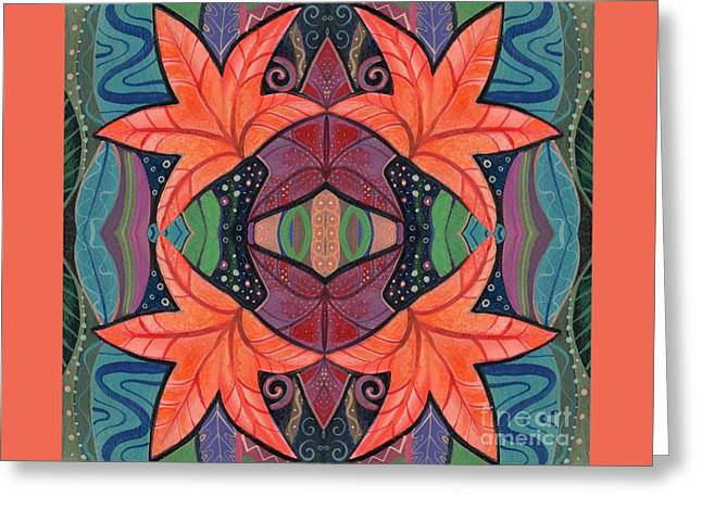 Autumnal Symmetry Greeting Card by Helena Tiainen