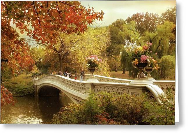 Autumn's Arrival At Bow Bridge Greeting Card