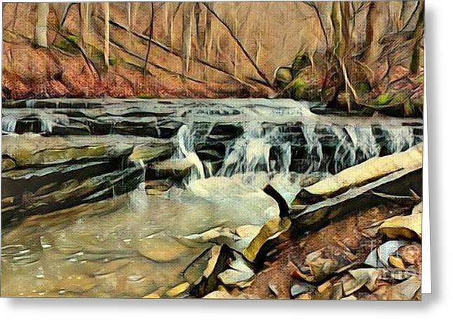 Autumns Arrival At Muscatatuck Falls  Greeting Card