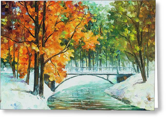Autumn's End Greeting Card by Leonid Afremov