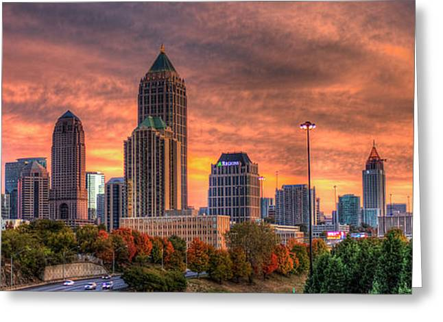 Autumns Glow Atlanta Sunset Art Greeting Card by Reid Callaway